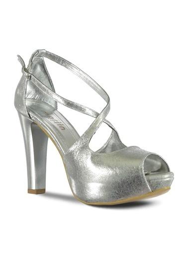 Marjin Platform Topuk Ayakkabı Gümüş